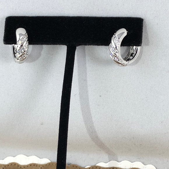 Jewelry - 14K White Gold Filled Pave Crystals Huggy Hoops